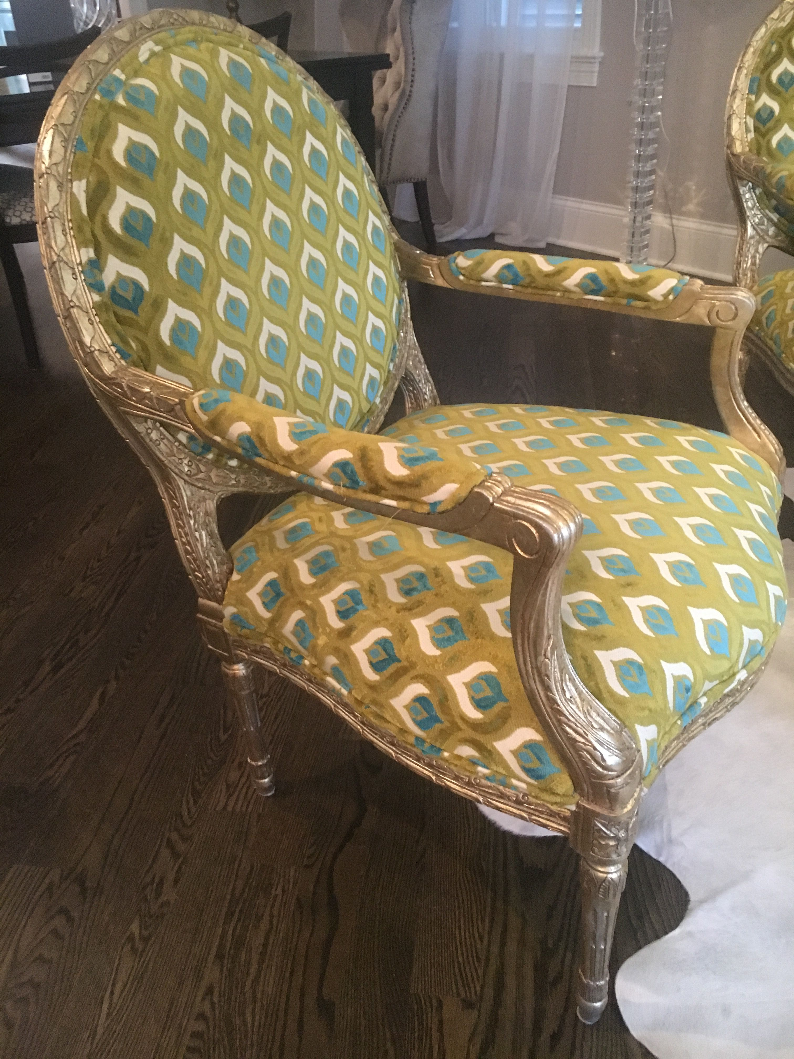 Custom Queen Anne chair with teal green cut velvet upholstery