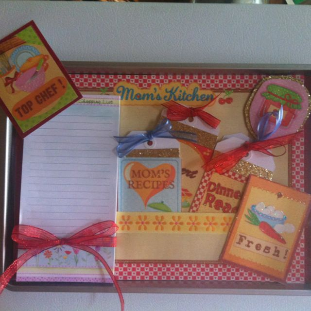 You will need Scrapbook Paper ( themed is better) Plain Solid color Scrap Paper I like to use glitter Paper  $1 store Cookie Sheet $1 store Refrigerator Note Pad Glue gun Strip Magnetic Strips Round Magnet optional  Thin ribbon Tags ( make your own or buy)  Scissors Straight Paper cutter optional  Zots optional