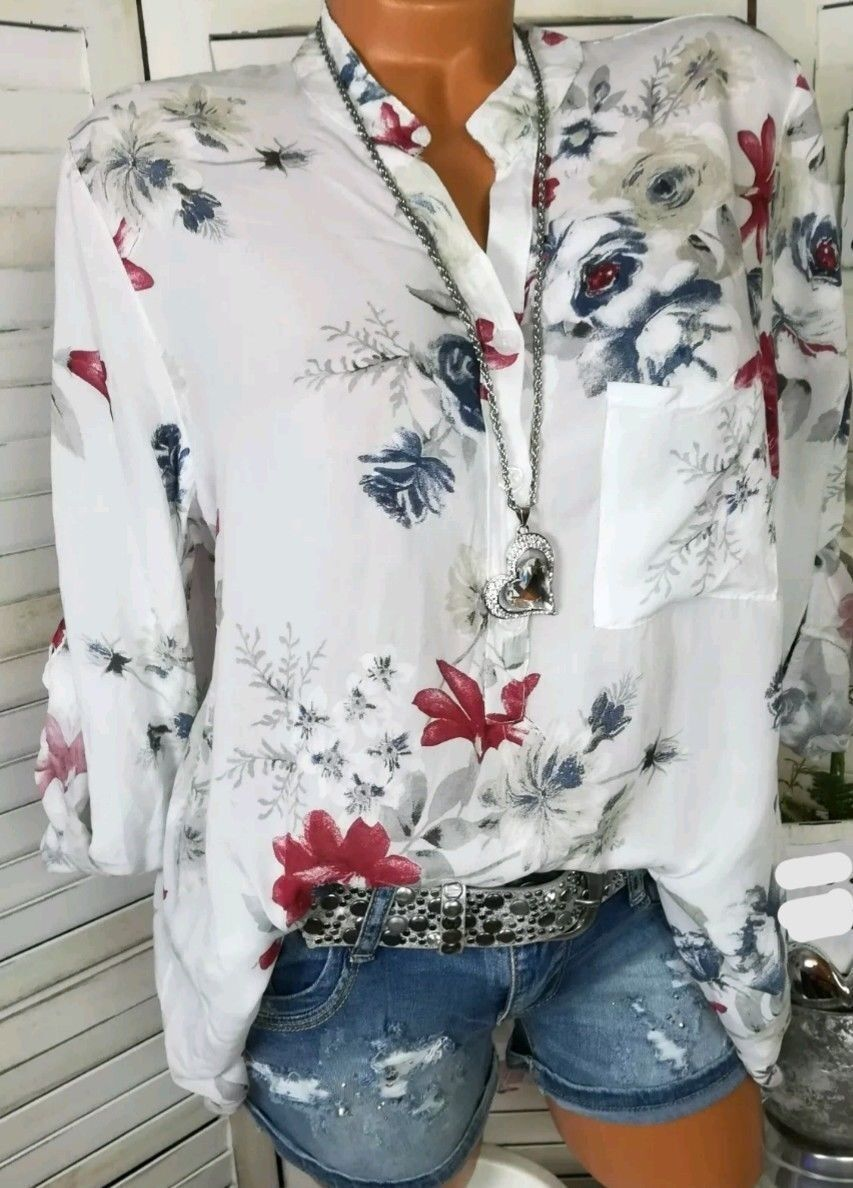 Women Shirt Floral Printed Long Sleeve V Neck in 2020