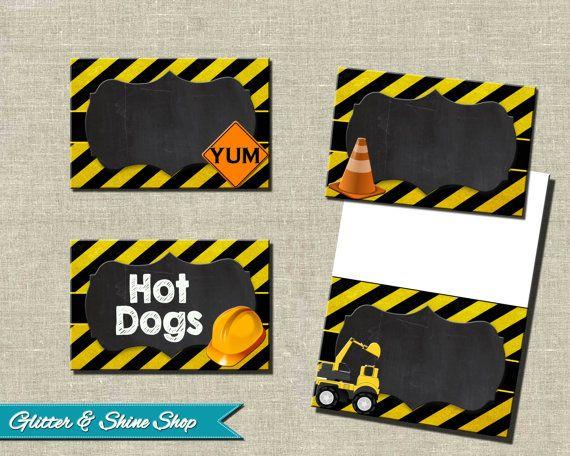 Dump Truck labels Construction Food Card Printable Construction buffet label EDITABLE Builder Food tent cards Construction Birthday
