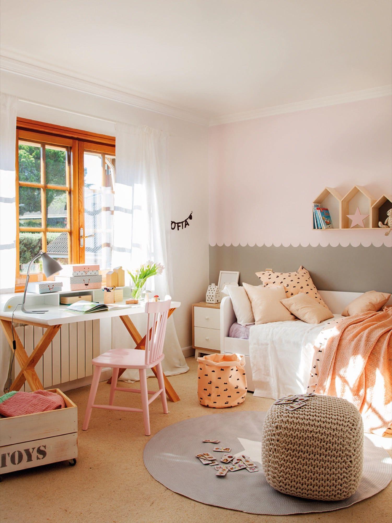 Dormitorio Infantil En Rosa Y Gris De Kenay Piezas Ni Itas  # Muebles Favorita