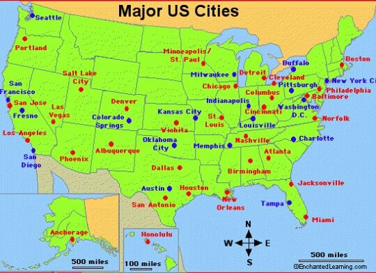 Us Map With Every City Every major city. Must visit them all! | Chicago city, Detroit