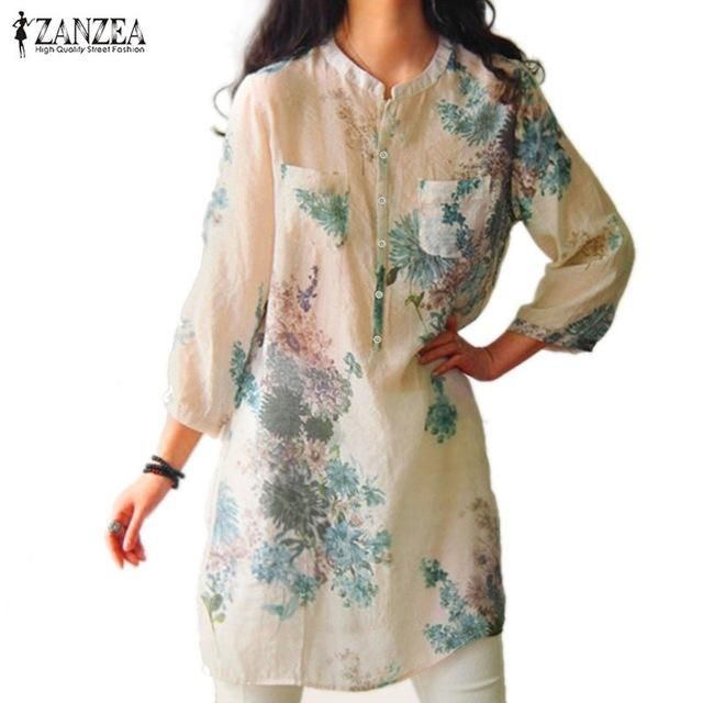 ae23fedb9aa8d4 Vintage Floral Printed Blouses Elegant 3/4 Sleeve Linen Casual Long Tops  Shirts