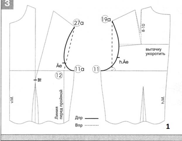 Построение выкройки узкого одношовного рукава по системе Мюллер и сын