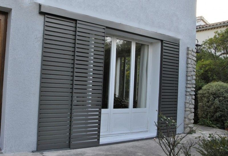 Volets coulissants aluminium pinterest for Volet battant bois pour porte fenetre
