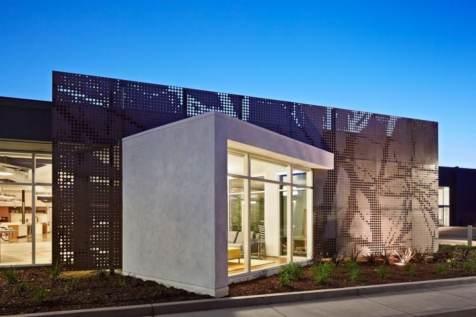 Modern office building facade in California One Workspace by