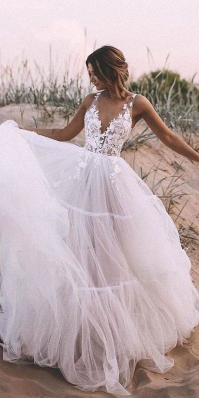 SGD269,Ball Gown Tulle Wedding Dress Lace Appliques Bridal Gowns from Starry Girl Dress