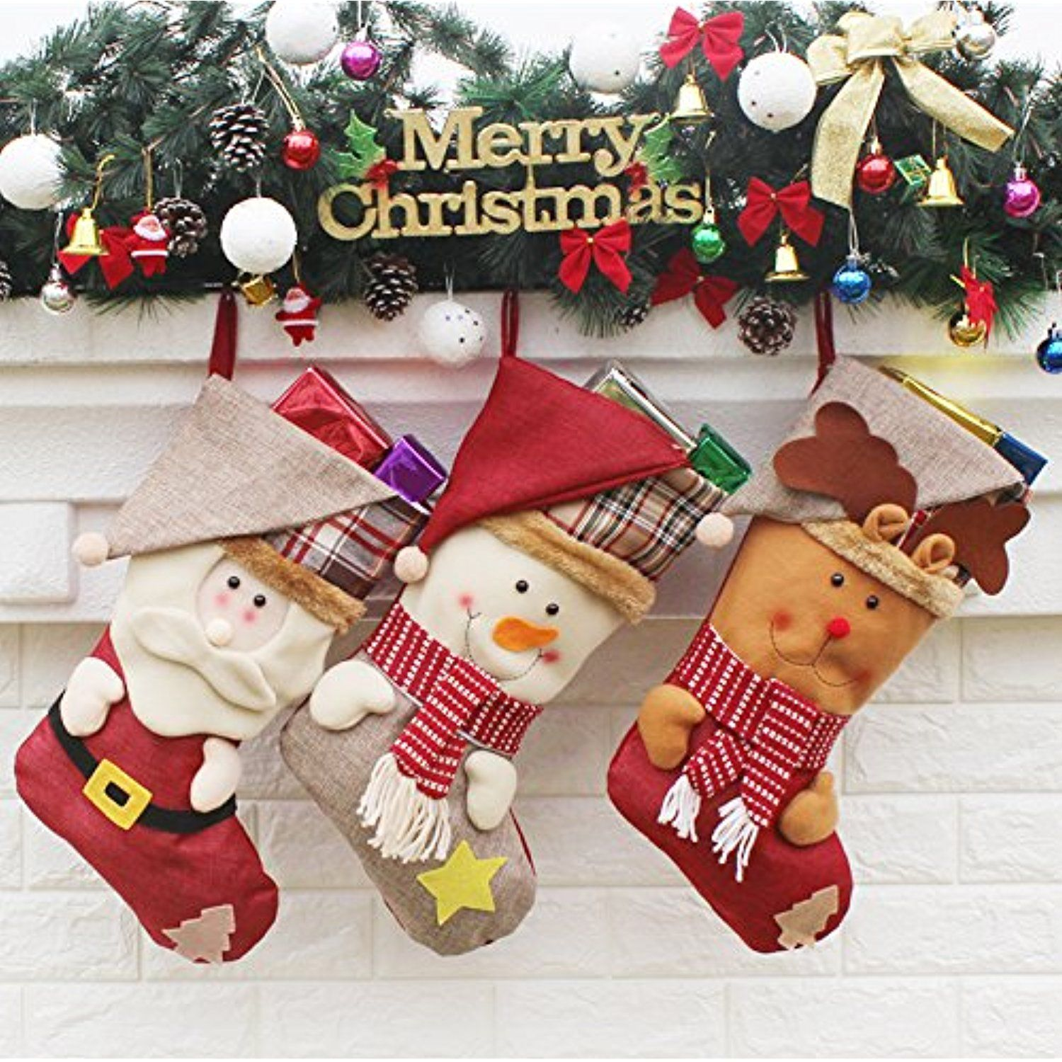 ancitac christmas stockings hanging set 17 large holiday gift bags bulk stocking kit for xmas tree or fireplace decorationtype a check this awesome