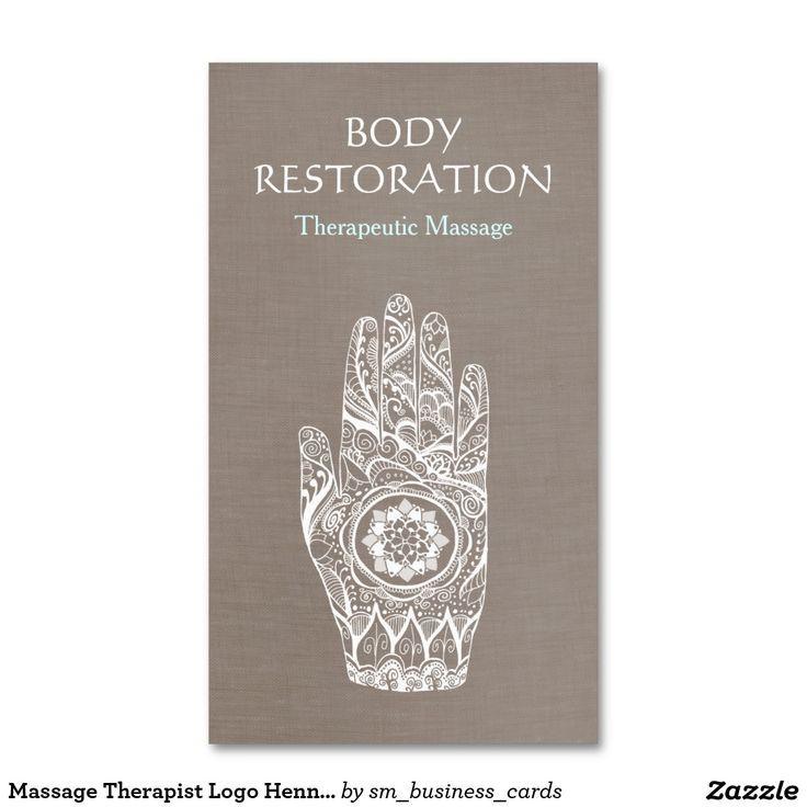Massage Therapist Logo Henna Lotus Tattoo Hand 3 Double-Sided ...