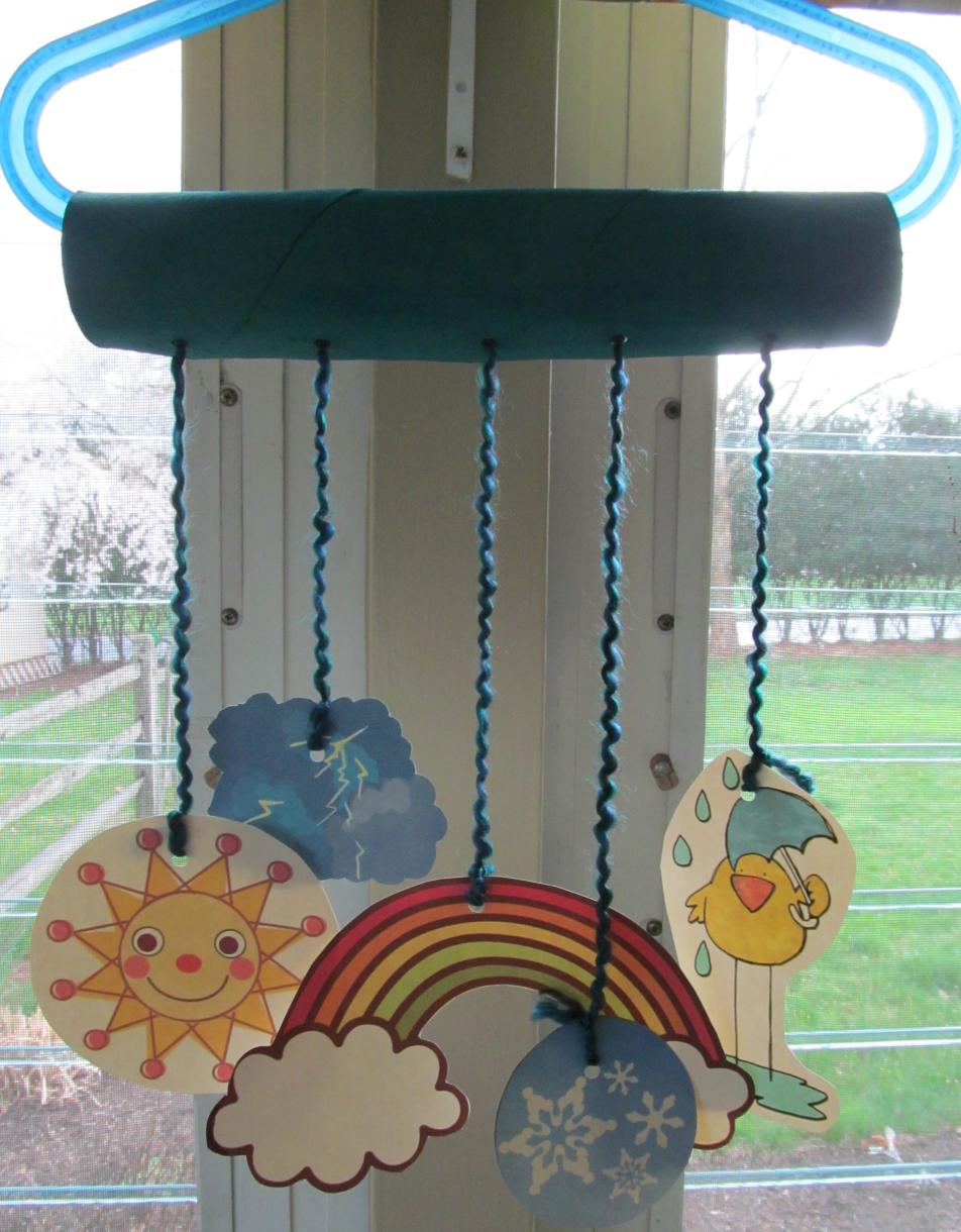 Weather mobile craft kraftykid i heart sunday school for Coat hanger art projects