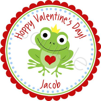 Hoppy valentines day frog prince design personalized stickers by partyink