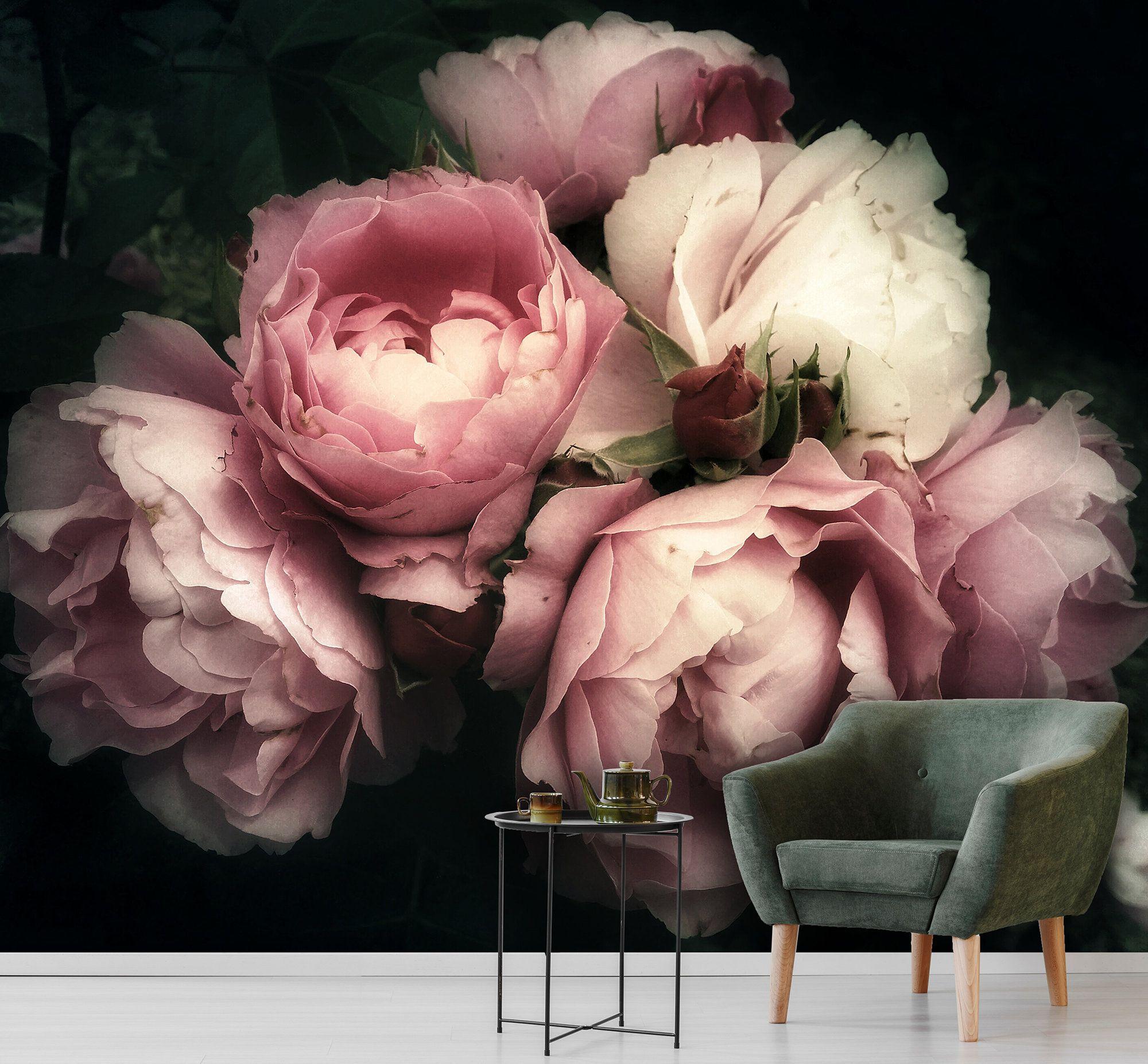 Pink rose removable wallpaper, dark floral mural, blush