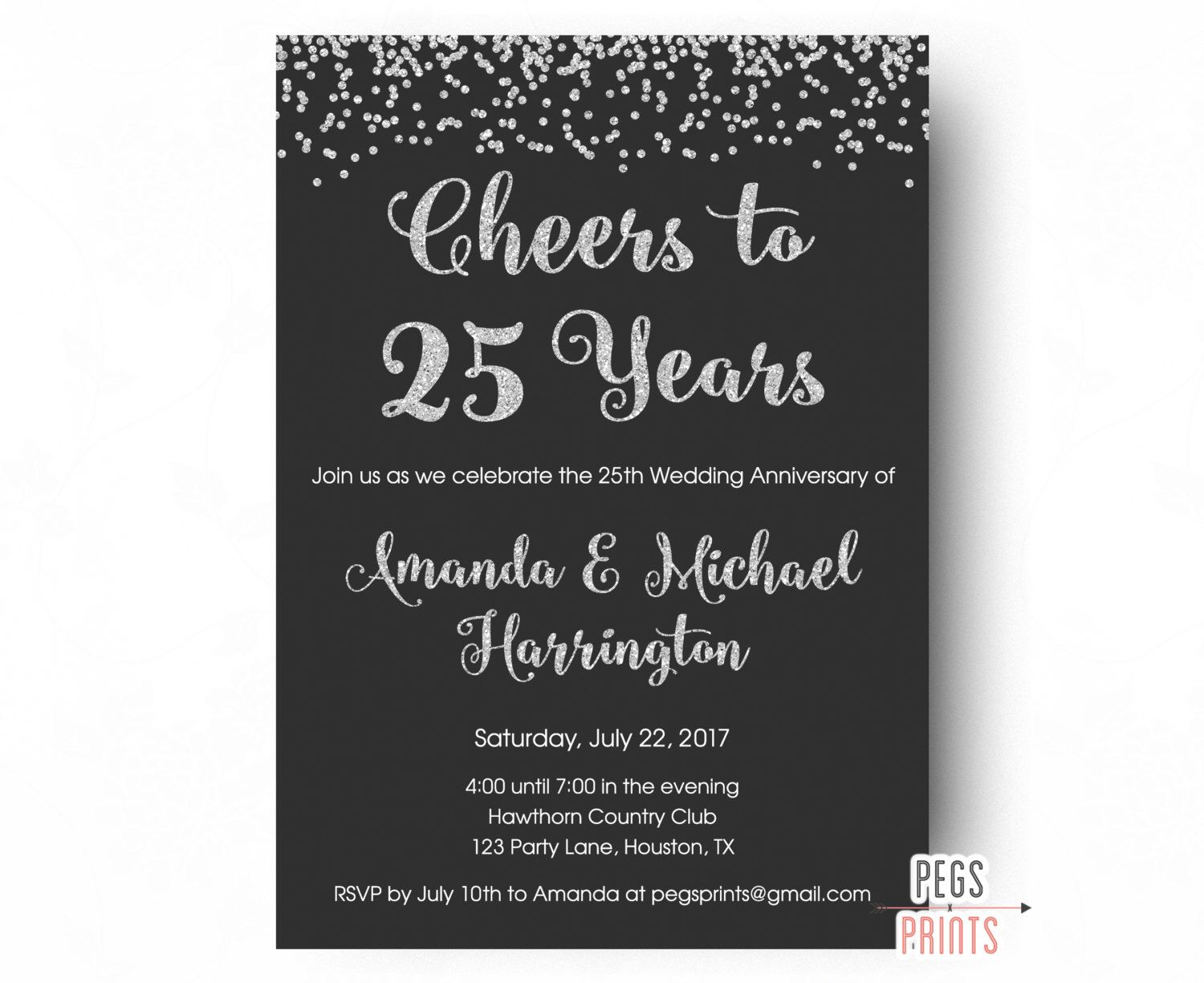 25th Anniversary Invitations - PRINTABLE 25th Wedding Anniversary ...