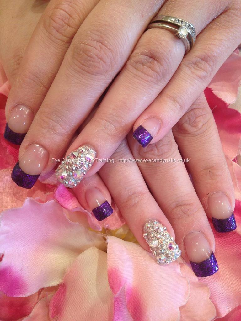 Purple glitter French polish with Swarovski crystal ring finger ...