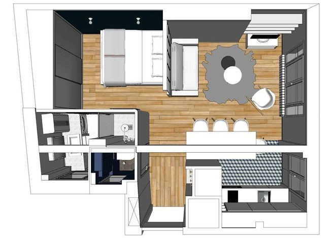 Le plan 3D de lu0027appartement après travaux Idées Pinterest
