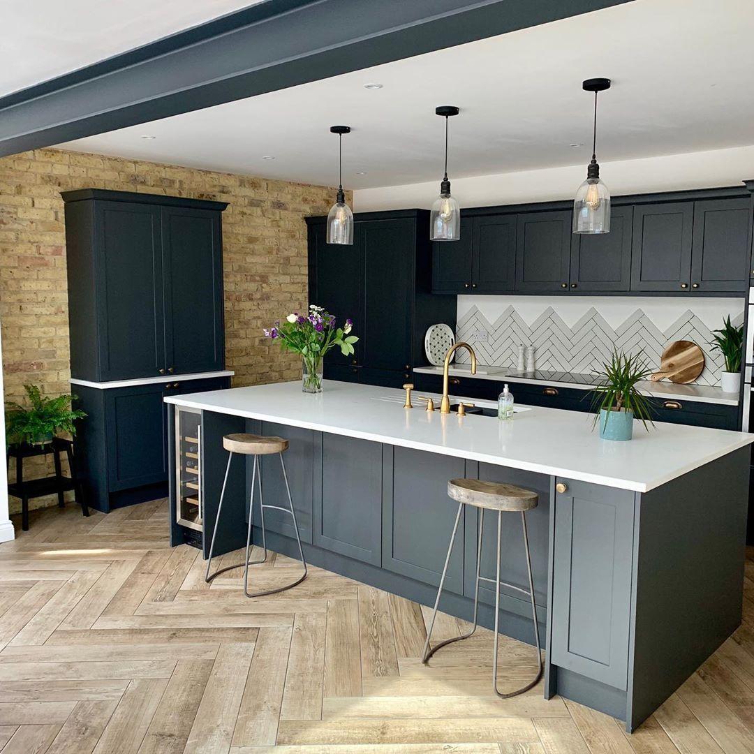 Large Dark Grey Kitchen We Adore This Dark Grey Kitchen With The Exposed Bri Open Plan Kitchen Living Room Open Plan Kitchen Dining Living Dark Grey Kitchen