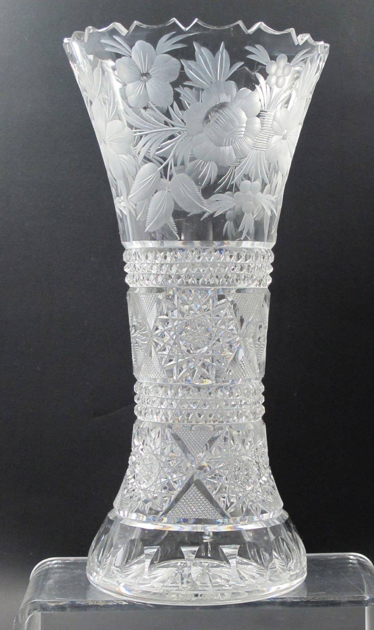 American brilliant floral period cut glass vase antique crystal american brilliant floral period cut glass vase antique reviewsmspy