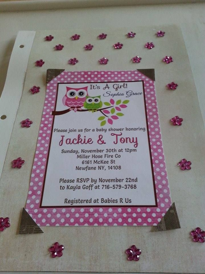 Invitation from baby shower.