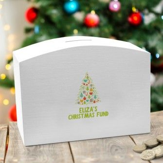 Personalised Christmas Tree White Money Box Personalised Money Box Christmas Christ Christmas Gift Guide