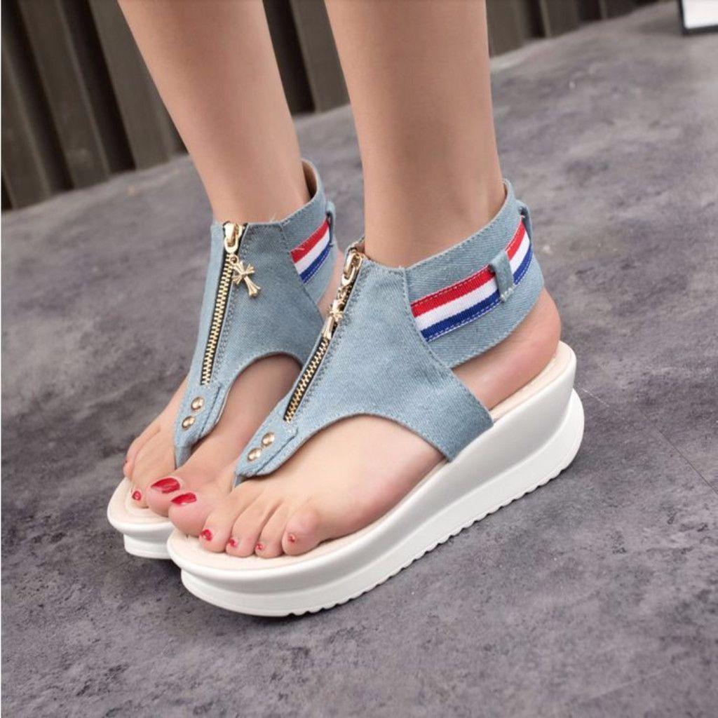 Denim Zipper Flip Flop Women Wedge Sandals. College StudentsFlat ShoesPlatform  ShoesComfortable ...