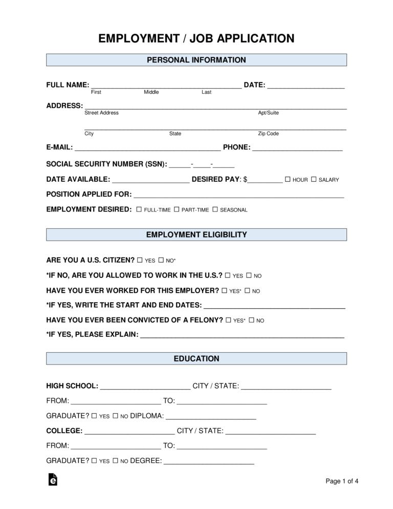 Free Job Application Form Standard Template Word Pdf Inside Employment Application Template Job Application Template Job Application Job Application Form