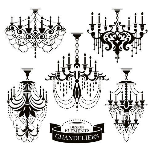 Ornate chandelier vector silhouette set 17 wood signs pinterest ornate chandelier vector silhouette set 17 aloadofball Choice Image