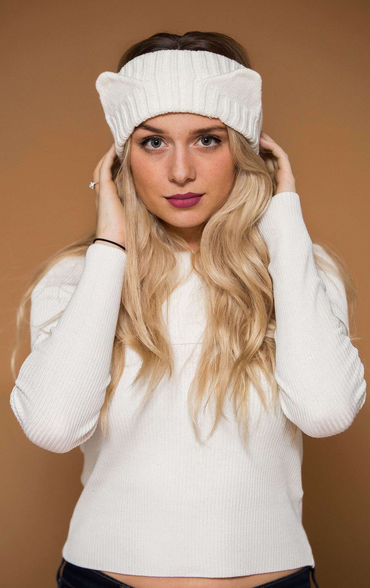 Cat Ears White Knit Headband Hat (With images) Cat ears
