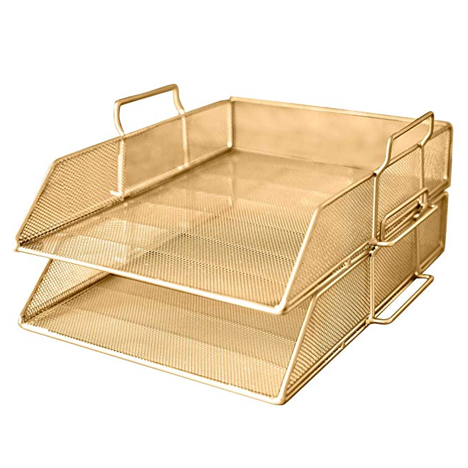 Amazon Com Delancey Usa Gold Stackable Document Tray Paper Organizer Paper Tray Desk Organizer Letter Tra Desk Tray Paper Tray Organizer Paper Organization
