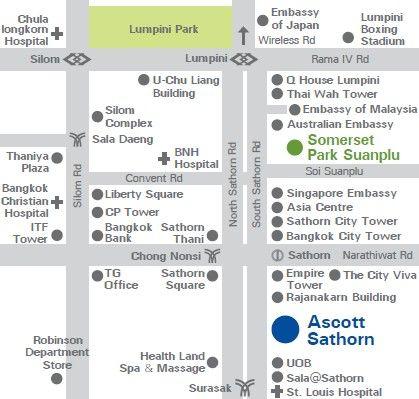 Location Map Of Ascott Sathorn Bangkok Thai Pinterest - Us embassy bangkok map
