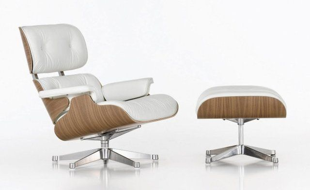 Eames lounge chair and ottoman in white for the interiors