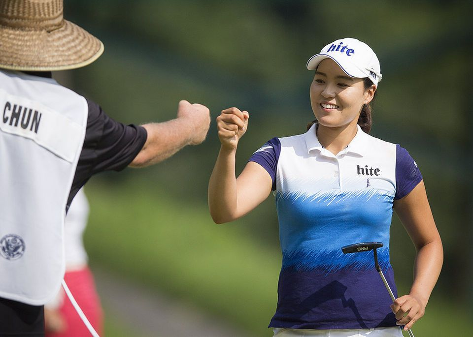 In Gee Chun Winner of the US Women's Open celebrating with her caddy on the 12th hole  during the final round of the US Women's Open at the Lancaster Country Club Sunday, July 12, 2015.  Daniel Zampogna, PennLive