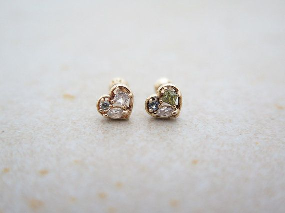 3d01a09ad CZ Heart Piercing/14K Solid Gold piercing/Helix by MinimalBijoux ...