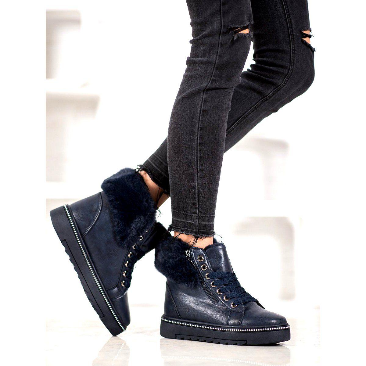 Shelovet Niebieskie Botki Z Futerkiem Clothes Fashion Black Jeans