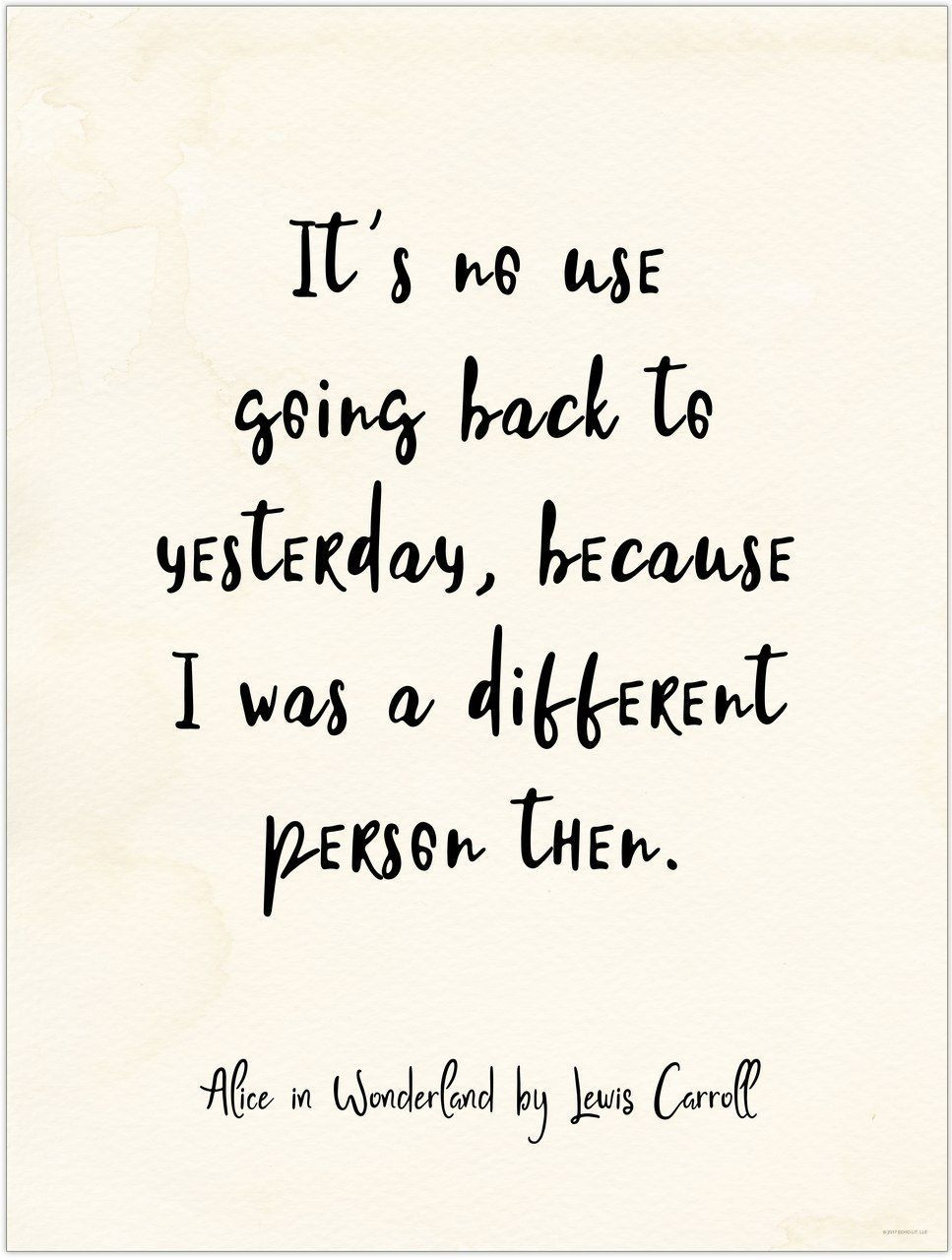 it`s no use going back to yesterday alice in wonderland vintage