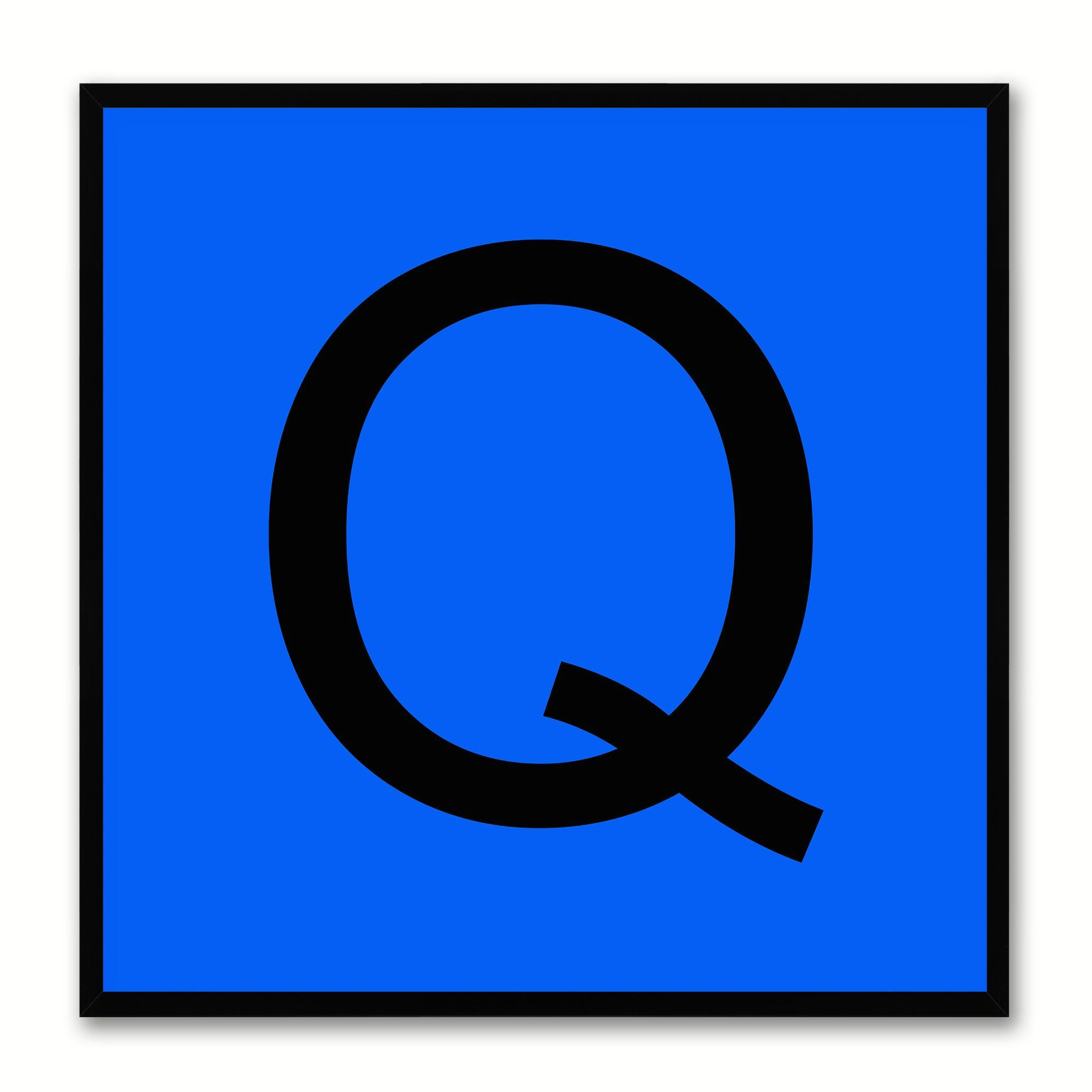 Alphabet Q Blue Canvas Print Black Frame Kids Bedroom Wall Dcor Home Art