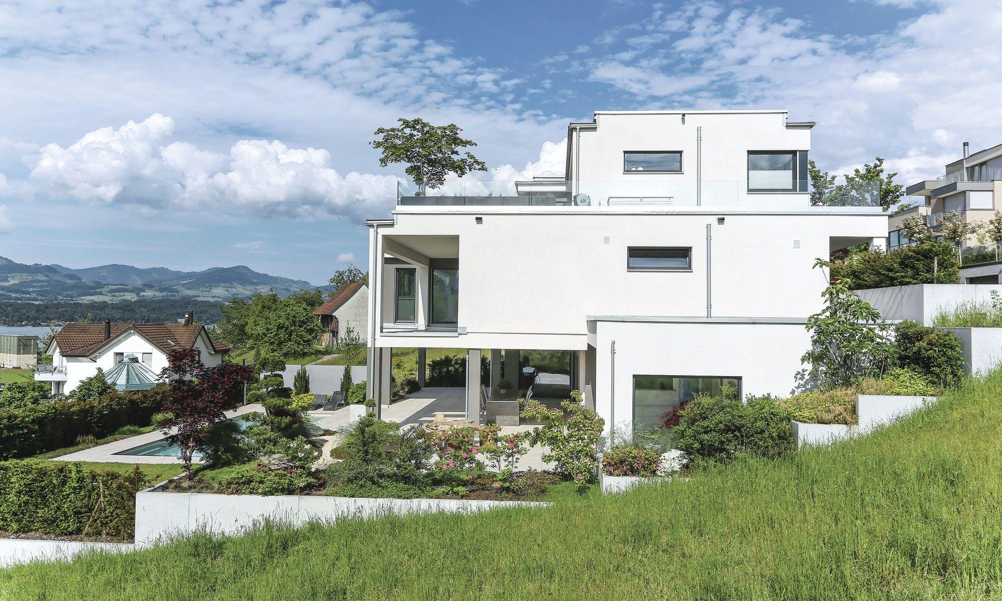 Günstige Fertighäuser Schweiz fertighaus weberhaus holzbauweise villa pool lakelucerne