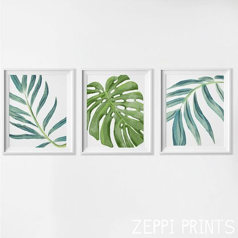 Beach Art Prints, Watercolor Beach Nursery Art, Tropical Palm Leaves ...