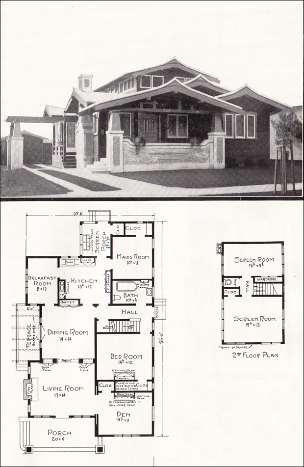 Asian Style Airplane Bungalow 1918 House Plans By E W Stillwell California Homes Vintage House Plans Home Design Floor Plans Bungalow House Plans