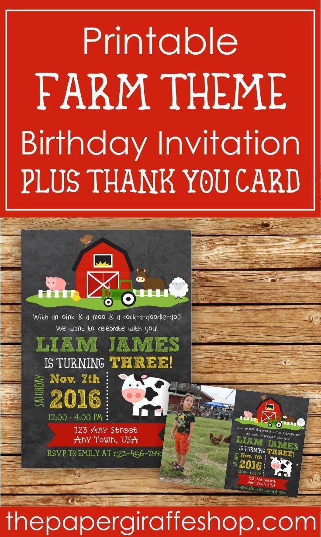 Farm Invitation | Farm Birthday Party | Farm Party | Farm Birthday ...