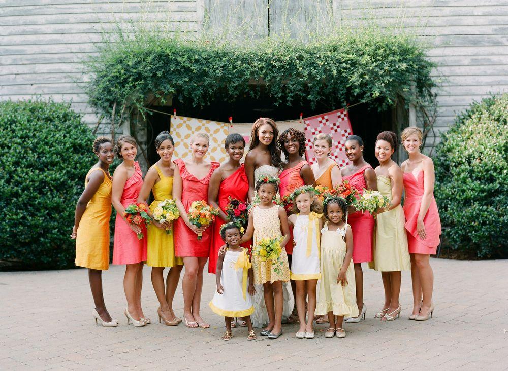 Southern-wedding-colorful-bridesmaid-dresses.jpeg 1,000×732 pixels