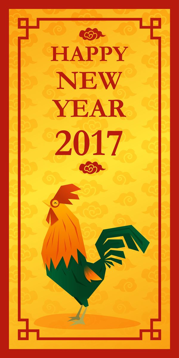 happy new year 2017 with chicken vertical banner vector 02