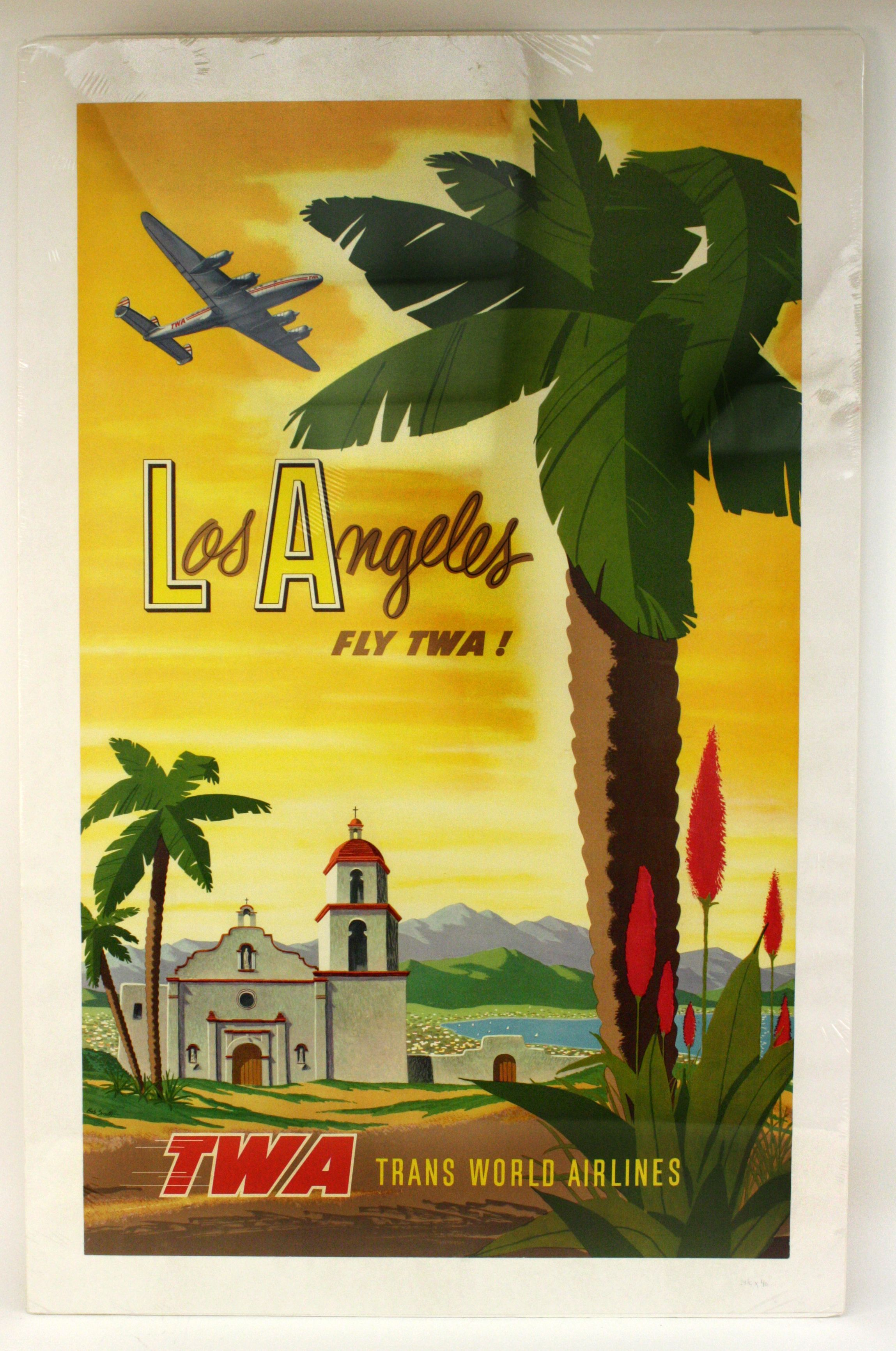 POSTER LOS ANGELES CALIFORNIA BEACH FUN SAILBOAT SUMMER VINTAGE REPRO FREE S//H