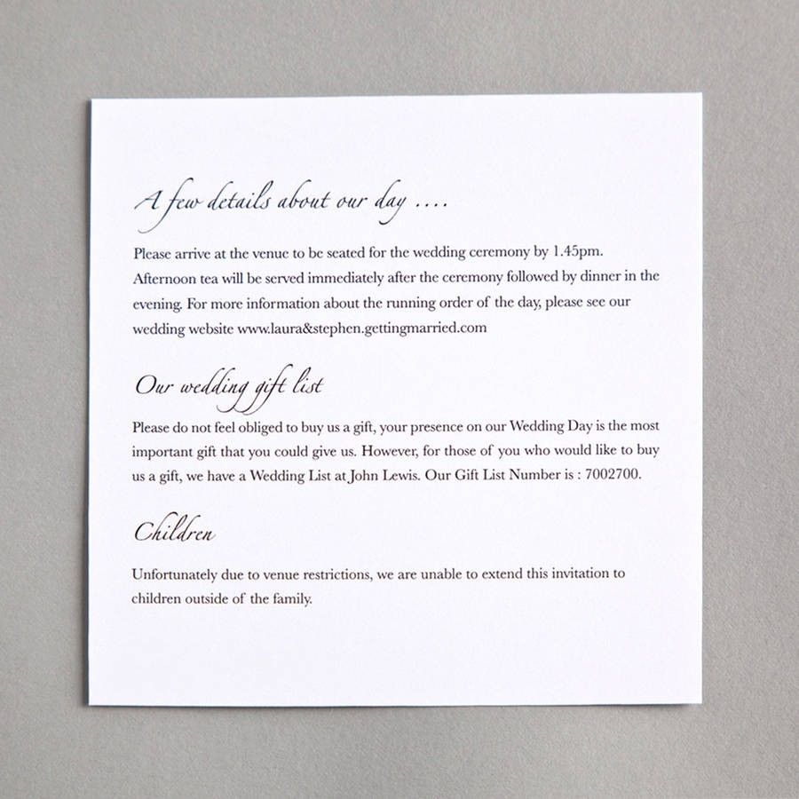 30 Details Cards Wedding Invitations Cafecanon Info Wedding Invitation Details Card Order Wedding Invitations Wedding Invitation Wording Informal