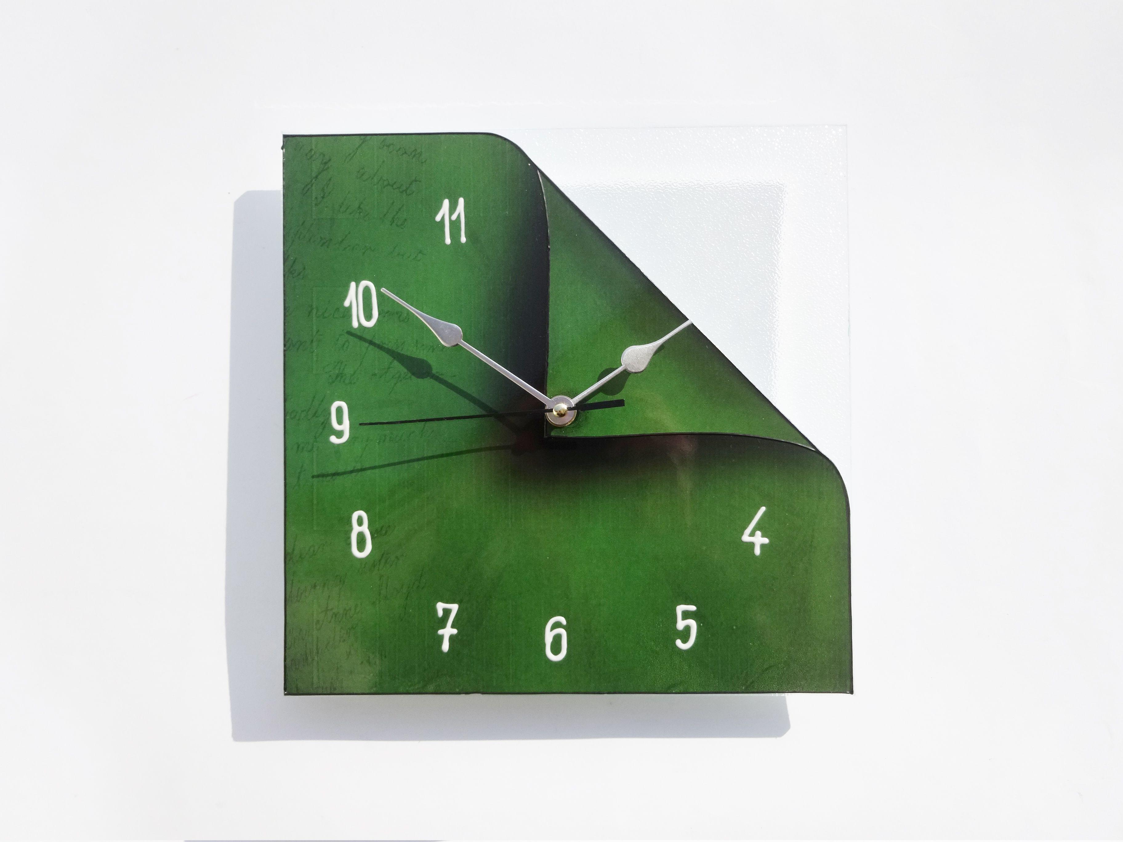 Deep green glass clock minimal dark green minimalistic original deep green glass clock minimal dark green minimalistic original design print painted glass amipublicfo Gallery