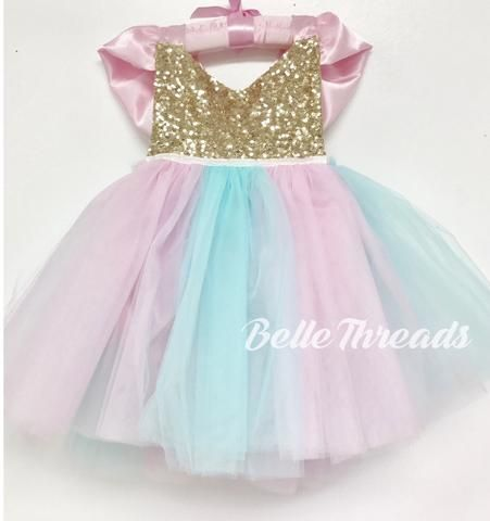 7bea005809b Cotton Candy Unicorn Tutu Dress Tutu Sparkle Romper - Belle Threads ...