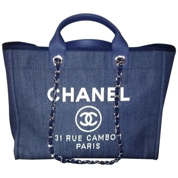 dfbdbe1e1749 Pre-owned Chanel Large Deauville Shopping Denim 30cm Dark Blue Tote...  ( 4