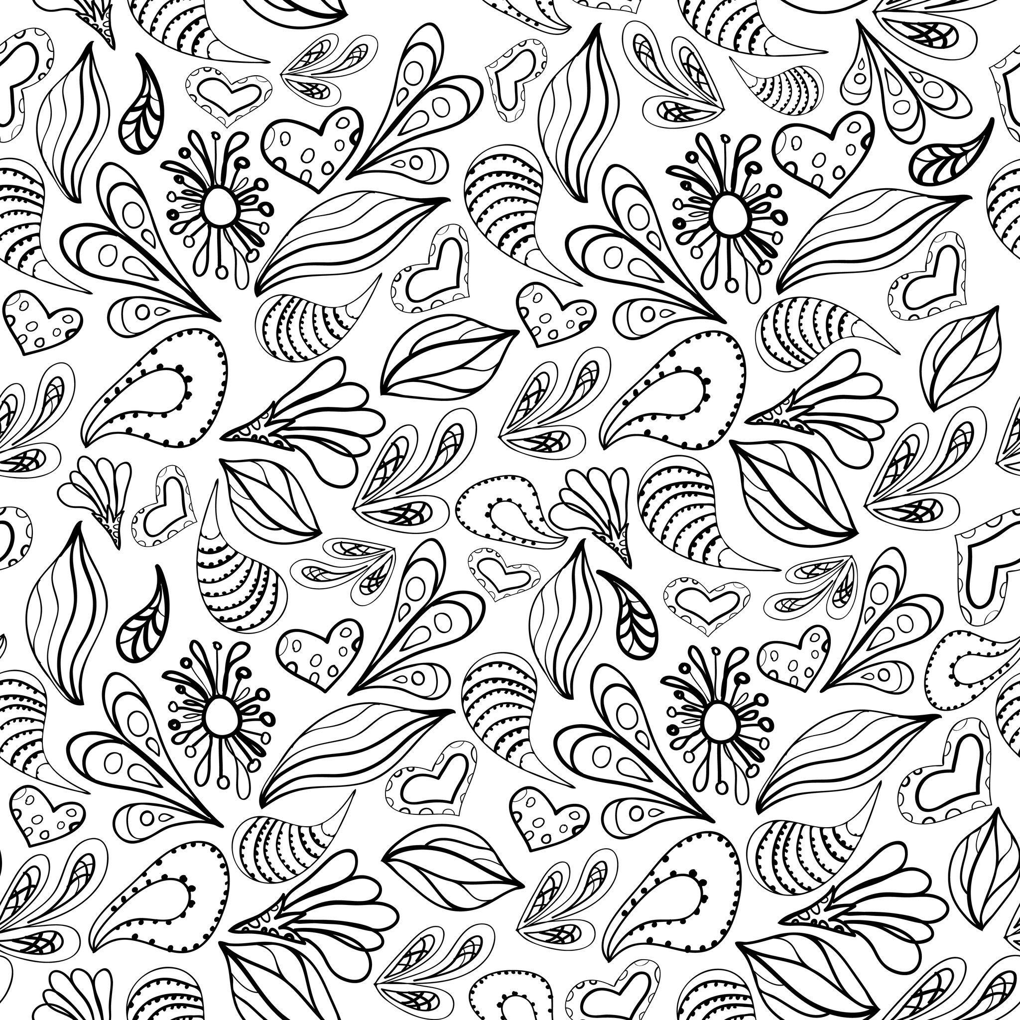 Coloriage Anti Stress Automne.Coloriage Anti Stress De Coeurs Et Petales Coloriages