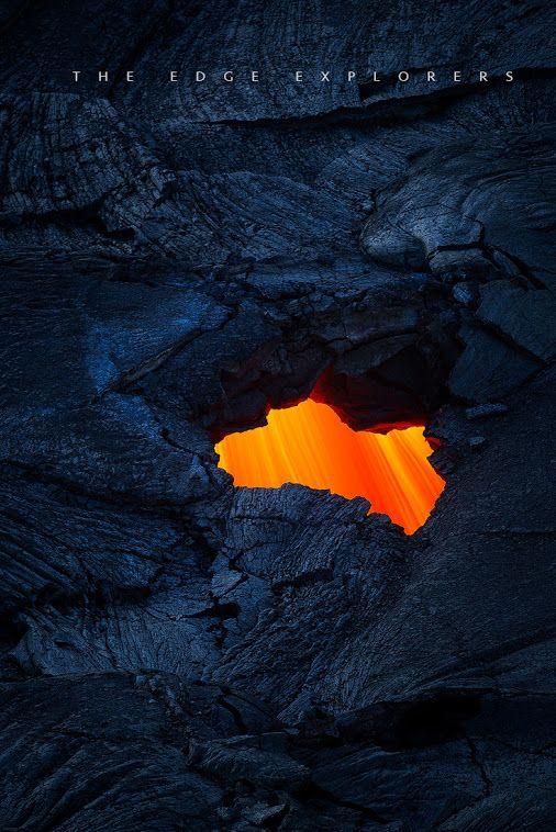 A lava tube skylight at the base of Pu'u O'o thats feeding the flow to Pahoa.