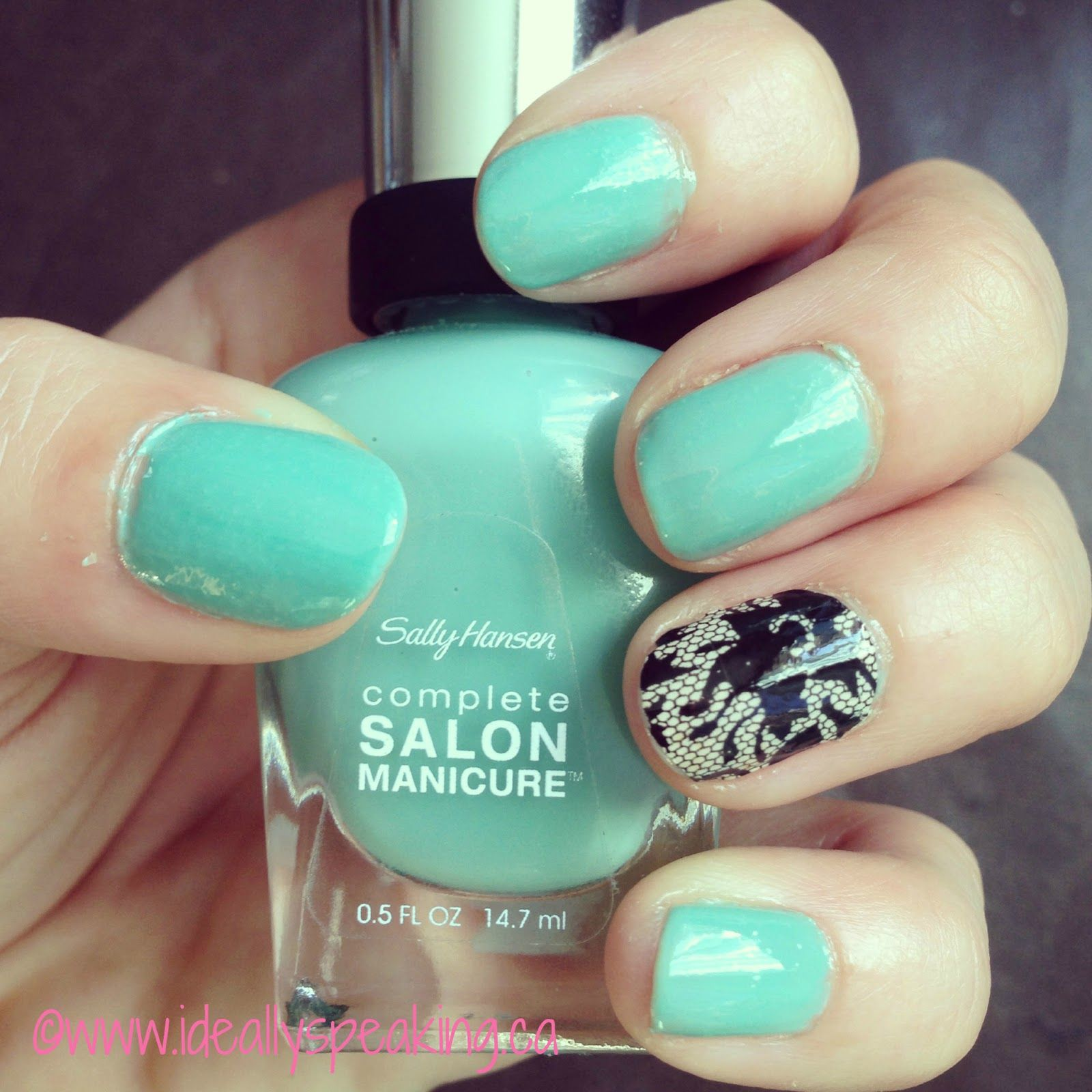 Tiffany Blue nails with lace accent using Sally Hansen nail strips ...