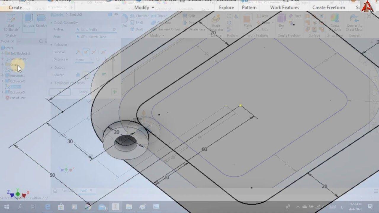 رسم المنظور الهندسي من خلال مسقطين برنامج الانفينتور 3d Modelling I Hockey Rink